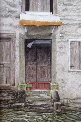 David Larkins: 'pixie in pesariis', 2018 Acrylic Painting, People. While walking along the cobblestone streets in Pesariis, Italy, a small village nestled in the Italian Alps, I came upon this old house which is probably hundreds of years oldAs usual, I like to have a heartbeat in my paintings.  This one is a memorial to our beloved Tonkinese cat aEURoe...