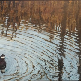 David Larkins: 'ripples', 2017 Acrylic Painting, Birds. Artist Description: aEURoeRipplesaEUR is a wonderful example showing my love for abstract realism.I added the Ruddy Duck to anchor the composition and show a source for the ripples in the water.Without the duck the painting becomes a pure abstraction....
