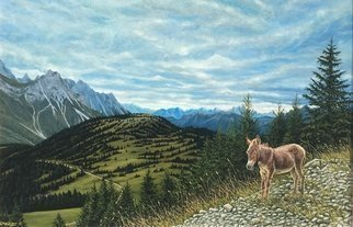 David Larkins: 'the dolomites sappada italy', 2018 Acrylic Painting, Mountains. Hiking in the Dolomites last August with friends, I was overwhelmed with their immense majestic beautyWe came upon a lone burro hiking back down the trail, who knows what she was doing up there, but I had to paint her ...