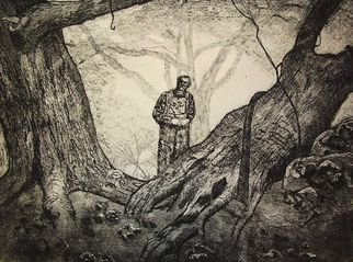 David Larson Evans: 'mr suthers', 2007 Etching, Landscape.  limited edtion etching. . . hand pulled by artist ...