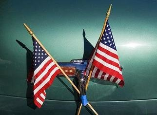 David Lorenz Winston: 'Buick Flags', 2005 Color Photograph, Americana. Ashland, Oregon 4th of July Parade...