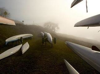David Lorenz Winston: 'Emigrant Sculls', 2004 Color Photograph, Marine. Sculls on Racks by Emigrant Lake, Oregon...