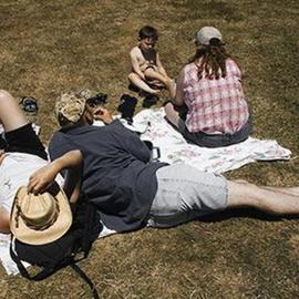 David Lorenz Winston: 'Kite Festival Attendees', 2005 Color Photograph, Family. Artist Description: Sprawling out at annual Brookings, Oregon Kite Festival...