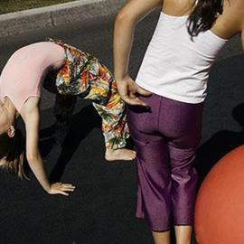 David Lorenz Winston: 'Two Acrobats', 2005 Color Photograph, Children. Artist Description: Girls preparing for 4th of July Parade, Ashland, OR...