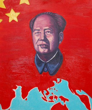 Winnie Davies: 'Red Chip Stock Market', 2006 Acrylic Painting, Cityscape.  The image of Chairman Mao had been repeating glamorously portrayed with ultimate realistic style in order to reach its propaganda political agenda during Mao's era. In fact, artists in China were only allowed to paint Mao's propaganda paintings exclusively in order to survive. After the open- up of...