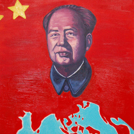 Winnie Davies: 'Red Chip Stock Market', 2006 Acrylic Painting, Cityscape. Artist Description:  The image of Chairman Mao had been repeating glamorously portrayed with ultimate realistic style in order to reach its propaganda political agenda during Mao's era. In fact, artists in China were only allowed to paint Mao's propaganda paintings exclusively in order to survive. After the open- ...