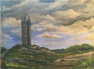David Carson Artwork scrabo tower co down, 2017 Acrylic Painting, Landscape