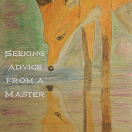 Dawn Eve: 'Seeking A master', 2016 Mixed Media, Animals. Artist Description:  A fox full of wisdom as he sees his reflection ...