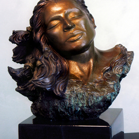 Dawn Feeney: 'Amaqua', 2005 Bronze Sculpture, Mystical. Artist Description:   Bronze sculpture with ferric ( yellow- brown) patina. Native American Female that can shift to Male when turned to side view. Meant to convey the positive and negative within us all and the wholeness of all beings.  ...