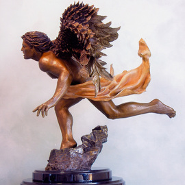 Dawn Feeney: 'Azrael Side View', 2006 Bronze Sculpture, Spiritual. Artist Description:  highly detailed bronze sculpture with ferric ( yellow- brown) patina on body, sulfur( sienna- gold) patina on flowing cloth, and wings fade from patinas of liver ( dark brown) , to ferric( yellow- brown)   ...