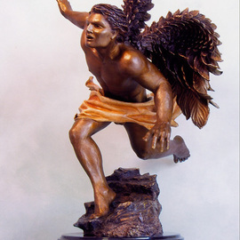 Dawn Feeney: 'Azreal', 2006 Bronze Sculpture, Spiritual. Artist Description:  highly detailed bronze sculpture with ferric ( yellow- brown) patina on body, sulfur( sienna- gold) patina on flowing cloth, and wings fade from patinas of liver ( dark brown) , to ferric( yellow- brown)  ...