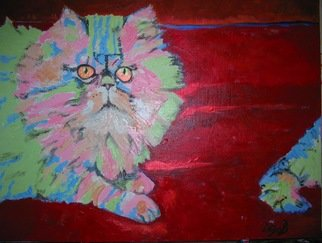 Cats Acrylic Painting by Daya Bonnie Astor Title: Banjo, created in 2007