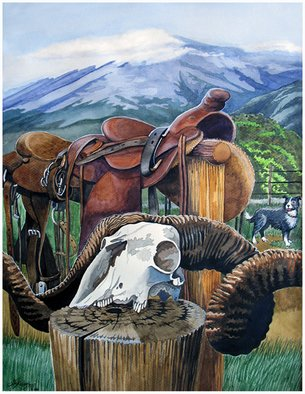 Artist: Dawn Bruyns - Title: Ready for the muster - Medium: Watercolor - Year: 2007