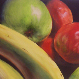 Dana Dabagia Artwork Fruit in Macro, 2011 Oil Painting, Food