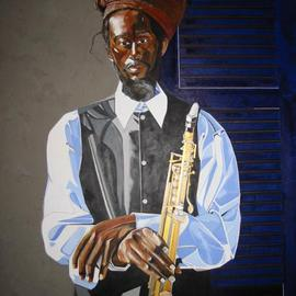 Dennis Duncan: 'BLEU ON BROAD STREET', 2003 Acrylic Painting, Figurative. Artist Description: Bleu On Broad St.48x60Acrylic/ Mixed- MediaBleu is one of the local street performers, along the Avenue of the Arts on Broad St. ,  Philadelphia, Pennsylvania. USA...