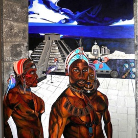 Dennis Duncan: 'NIGHT  IN TUNISIA', 2006 Acrylic Painting, Surrealism. Artist Description:      A Night in Tunisia a Charlie Parker jazz classic was my musical muse for this piece. Images I  photographed at the ODUNDE festival in 2004 here in Philadelphia Pennsylvania of a MASAI dance troupe inspired me to take a mystical journey, beginning in S. Africa and ending on ...