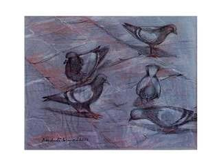 Debabrata Biswas: 'birds2', 2014 Pastel Drawing, Birds. Artist Description:                   Capturing a moment of life is an artistaEURtms ageless quest. I try to establish the fundamentals of space and unifying this dire necessecity in my work. I derive inspiration from my immediate surroundings, so my subjects are always nature, animal and human. I intend to portray them ...