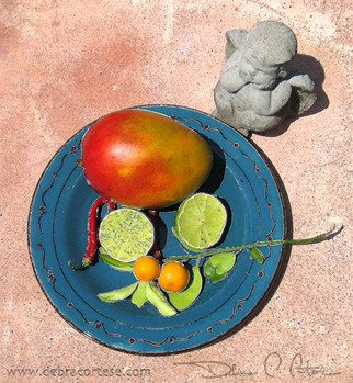 Debra Cortese: 'Blue Plate Mango Angel', 2008 Other Photography, Food.  Blue Plate Mango Angel is one of a series of photopaintings of a luscious mango posing with a variety of garden characters including a clay Shrek chia head, a garden gnome and the angel shown in this artwork. The series starts with the mango and ends with my very own...