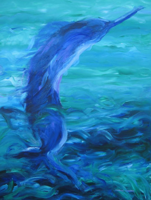 Debra cortese artwork ocean blue sea spirit original for Sea spirit fishing