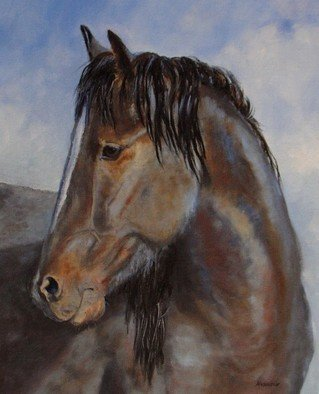 Debra Mickelson Artwork The Blue Roan Mustang, 2010 Oil Painting, Animals
