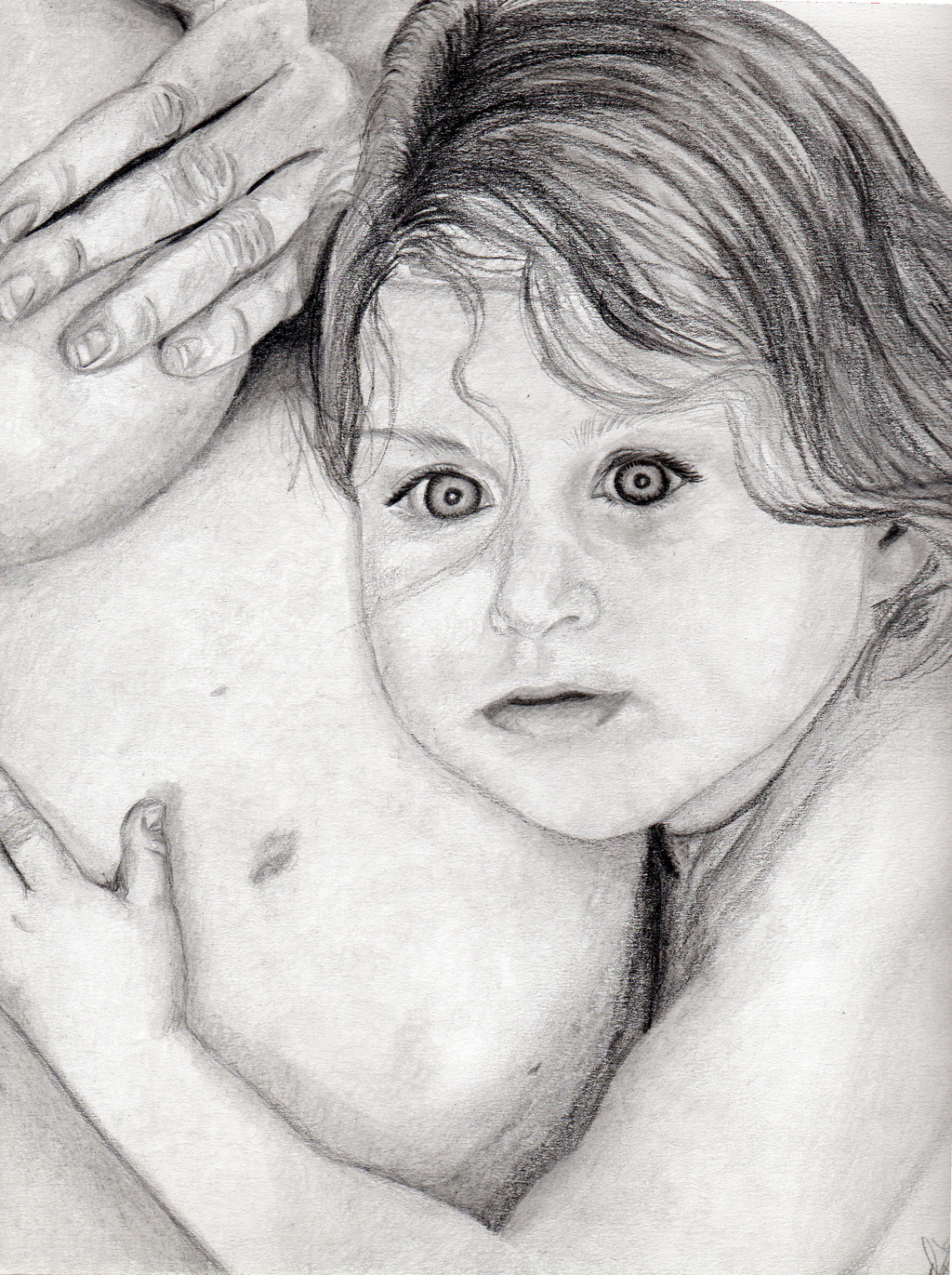 Mommy And Me Pencil Drawing By Dee-ann Lancaster ...