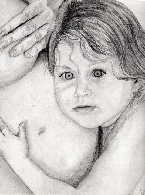 Dee-ann Lancaster  'Mommy And Me', created in 2007, Original Drawing Pencil.