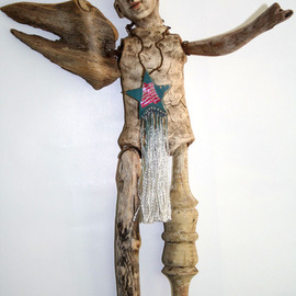 Barbara Melnik Carson: 'Patriot', 2007 Mixed Media Sculpture, War. Artist Description:  Mixed media sculpture, with artist sculpted head & body, drift wood wings, recycled furniture legs & found objects ...