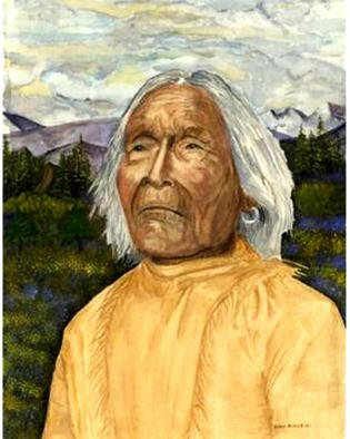 David Herold Artwork What These Old Apache Eyes Have Seen, 2002 Watercolor, Portrait