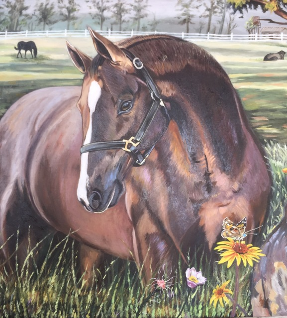 Ayodeji Akinyele  'Horse Ranch', created in 2019, Original Painting Oil.