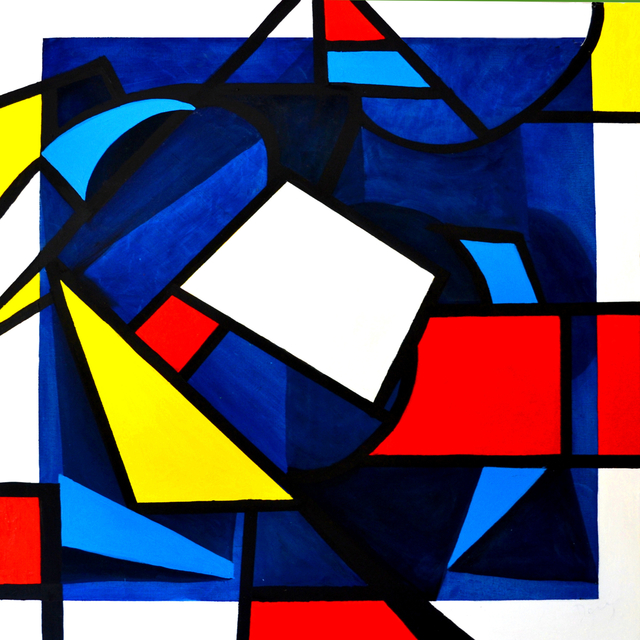 Denis Taylor  'Mondrian Tangles With Malevich', created in 2020, Original Painting Oil.