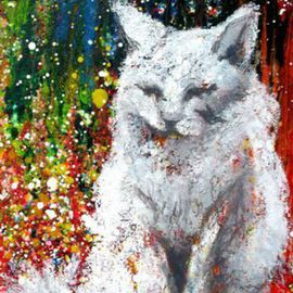 Denise Derviche Artwork Alice, 2008 Acrylic Painting, Cats