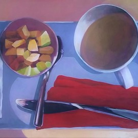 Denise Dalzell: 'Breakfast East of Greenland', 2016 Acrylic Painting, Representational. Artist Description: painting, breakfast east of greenland, illustration, espressionism, pop art, modern, realism...
