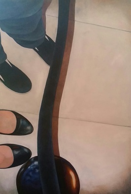 Acrylic Painting by Denise Dalzell titled: Queue, 2014