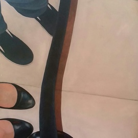 Denise Dalzell Artwork Queue, 2014 Acrylic Painting, Representational