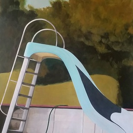 Denise Dalzell: 'Sunshine Terrace', 2016 Acrylic Painting, Representational. Artist Description: painting, sunshine terrace, illustration, expressionism, pop art, modern, realism, pool slide...