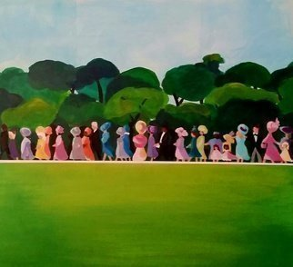Denise Dalzell: 'attendance', 2018 Acrylic Painting, Abstract. Artist Description: Guests walking towards a big event...