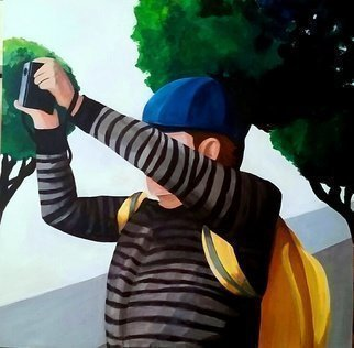 Denise Dalzell: 'camera man', 2018 Acrylic Painting, Figurative.
