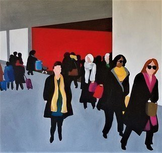 Denise Dalzell: 'commute', 2019 Acrylic Painting, People. painting, commute, illustration, expressionism, pop art, modern, realism, people.  A scene of interaction among rush hour commuters. ...