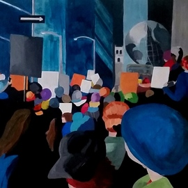 Denise Dalzell: 'demonstrate', 2017 Acrylic Painting, Activism. Artist Description: painting, demonstrate, illustration, expressionism, pop art, modern, realism, people, protest...