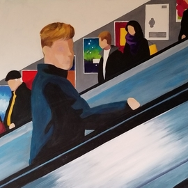Denise Dalzell: 'escalator', 2020 Acrylic Painting, Figurative. Artist Description: An illustration from an adventure in London. ...