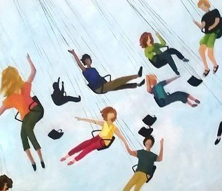 Denise Dalzell: 'in the summer air', 2018 Acrylic Painting, People. Artist Description: People interacting on a carnival swing ride...
