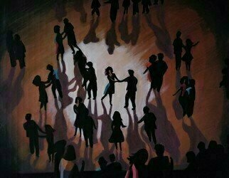 Denise Dalzell: 'lumiere', 2020 Acrylic Painting, People. An illustration of people celebrating at an evening dance party...