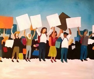 Denise Dalzell: 'momentum', 2018 Acrylic Painting, People. Artist Description: A scene from a growing protest...