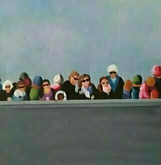 Denise Dalzell: 'observation', 2018 Acrylic Painting, Peace. painting, observation, illustration, expressionsim, pop art, modern, realism, people, wallTourists taking in what s going on around them. . . . . ...