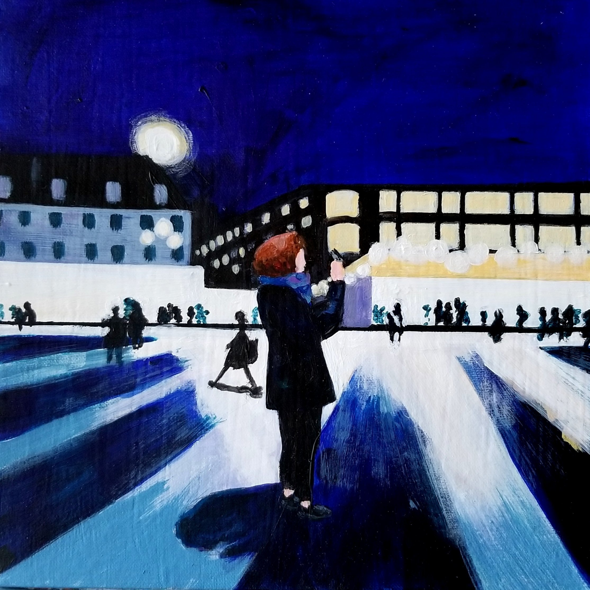 Denise Dalzell: 'outside san pancras', 2020 Acrylic Painting, People. A nighttime scene at San Pancras Station, London...