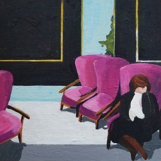Denise Dalzell: 'pink chairs', 2019 Acrylic Painting, People. A scene of a opportunity for rest during a hectic afternoon...