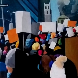 Denise Dalzell: 'protest', 2017 Acrylic Painting, Activism. Artist Description: painting, protest, illustration, expressionism, pop art, modern, realism, people, signs, protest...