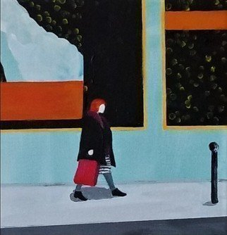 Denise Dalzell: 'shopper', 2019 Acrylic Painting, People. A smaller scale scene of a lady out to acquire something. . . ...