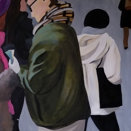 Denise Dalzell: 'twosome', 2019 Acrylic Painting, Figurative. Artist Description: A scene of a couple heading out among pedestrians. ...