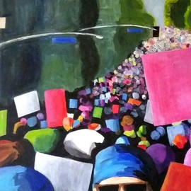 Denise Dalzell: 'unison', 2017 Acrylic Painting, Activism. Artist Description: painting, unison, illustration, expressionism, pop art, modern, realism.  A scene from the LA Women s March January 2017...